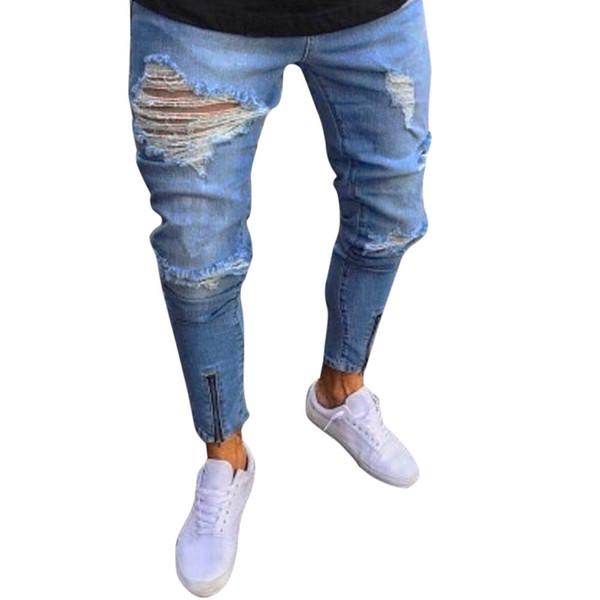 Fashion Denim Men Skinny Frayed Biker Jeans Masculino Elastic Pencil Trousers Distressed Ripped Jeans For Men Pants Slim Fit 20