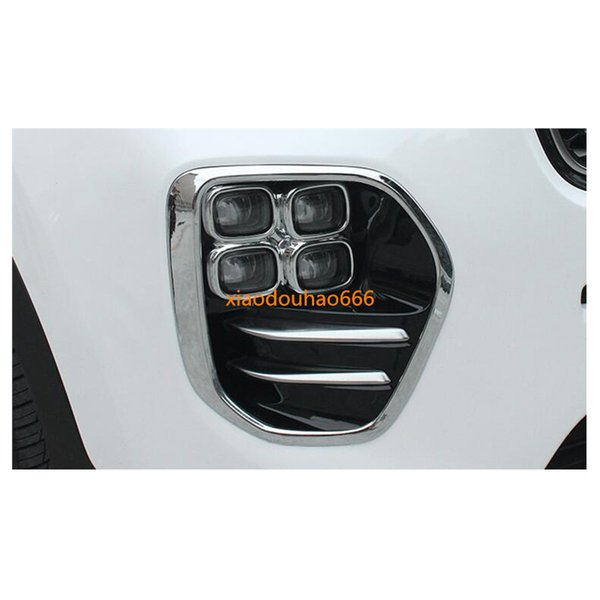 For Kia kx5 Sportage 2016 2017 2018 car front fog light lamp detector frame sticker styling ABS Chrome cover trim hoods parts 2pcs
