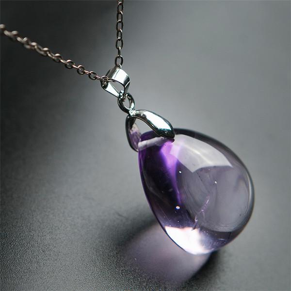 Genuine Purple Natural Ametrine Amethyst Gemstone Crystal Water Drop Bead Pendant 25*21*17mm