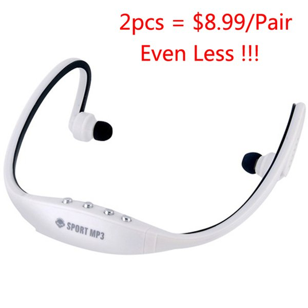 2 Pieces Portable Sports MP3 Players Headset Wireless Headphones with FM Radio TF Card MP3 Music Playing Earphone For Run Gym