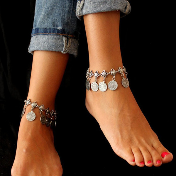 best selling PearlPlus Vintage Boho Chain Anklet Coin Tassels Beach Hawaiian Ankle Bracelet For Women