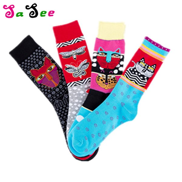 Autumn Winter Unisex Cat Butterfly Patterned Art Socks Men Skateboard Harajuku Short Socks Fashion Cotton Socks Ankle Funny Sox