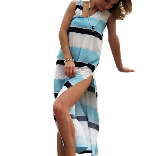 Un lado dividió el vestido largo sin mangas del verano de la gasa a rayas sin espalda Vestido largo de Boho Beach 2018 Señora atractiva profundo con cuello en v mujeres Sundress GV220