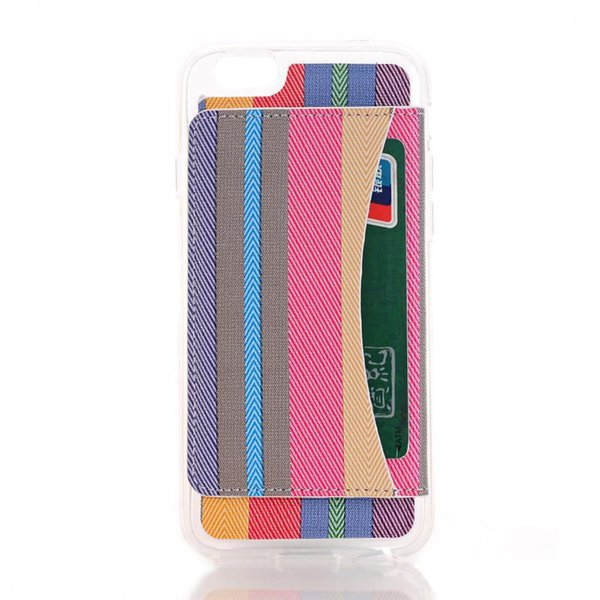 Colorful Rainbow Style Flip Cover Case With Card Slot Shockproof TPU PU Leather Cover Case For iphone 6 6s 7 Plus OPPBAG