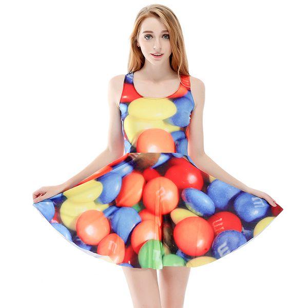 Women Billowing Dress Balloon 3D Full Print Girl Stretchy Casual Pleated Parasol Dresses Lady Sleeveless Digital Graphic Skirt (RLSkd1137)