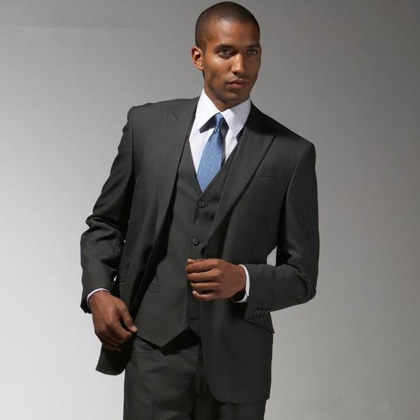 Latest Coat Pants Designs Charcoal Men Suits Slim Fit Formal Groom Prom Tuxedo 3 Piece Blazer Business Clothes Jacket+Pants+Vest