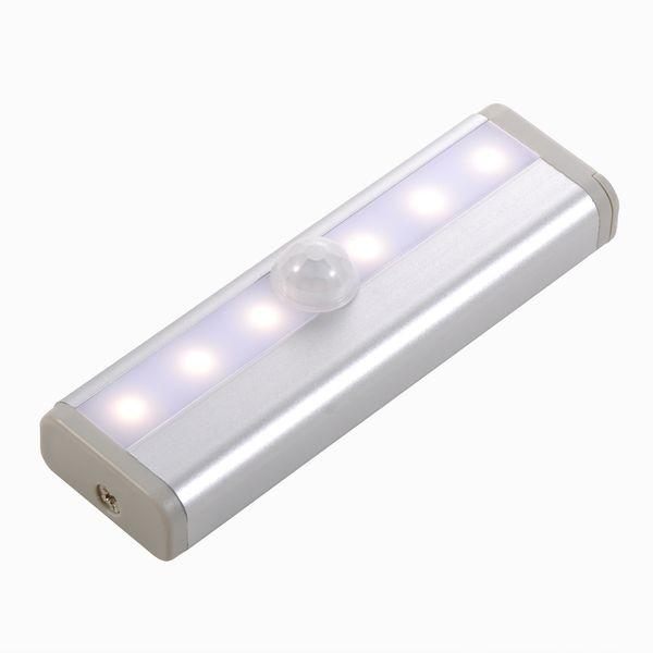Motion Sensor LED Cabinet light 6LEDs Portable Wall lamp Rigid Strip Bar Light for Cupboard Kitchen Wardrobe Free Shipping 2pcs/Lot