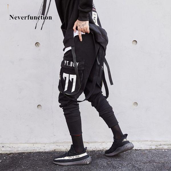 Neverfunction 2018 uomini stampati multi-tasca moda hip hop jogger pantaloni casual con coulisse in cotone nastro uomini pantaloni streetwear