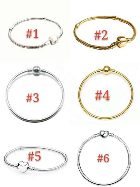 17-21cm 6 Arten 925 Silber überzogene Armband-Schlangenkette mit Fass-Haken-gepaßten europäischen Kornen für Pandora-Armband mit Logo für DIY Schmucksachen