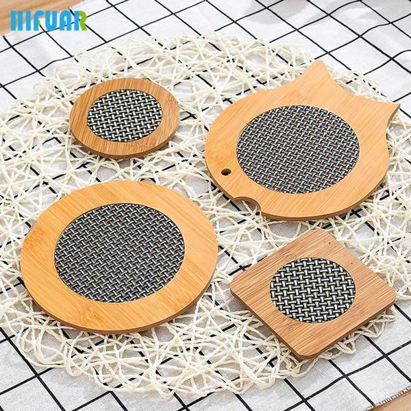 HIFUAR Bambu De Madeira Copo Esteiras Coaster Não-slip Peixe Isolamento Mat Mesa de Café Pads Resistente Ao Calor Mat Com Fibroso Net