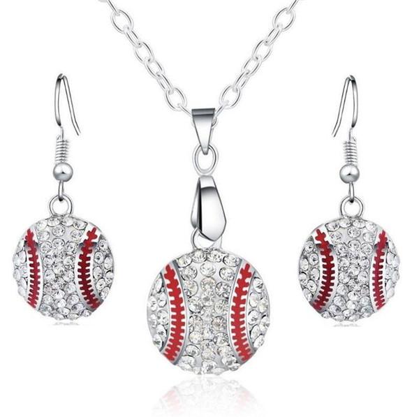 Collana di gioielli con pendente di cristallo di cristallo Set di gioielli di moda Gioielli sportivi di moda Regalo migliore amico per gli amanti della palla di base del Club Club KKA1805