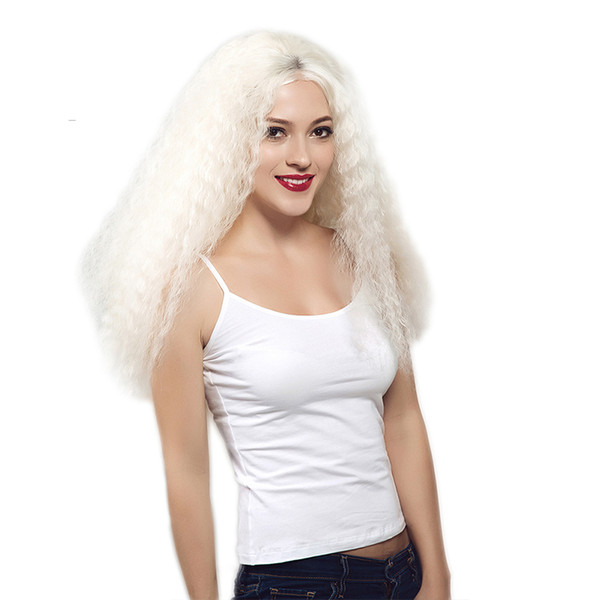 White Synthetic Heat Resistent Wig Kinky Curly White Color Long Full Hair Wig Free Parting Glueless Fiber Hair Synthetic Front Lace Wig