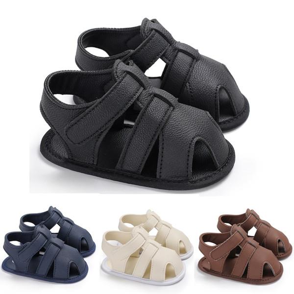 2018 новорожденных летних мальчиков обувь искусственная кожа детская обувь мягкая подошва младенческой Prewalker анти скольжения первый ходунки крюк