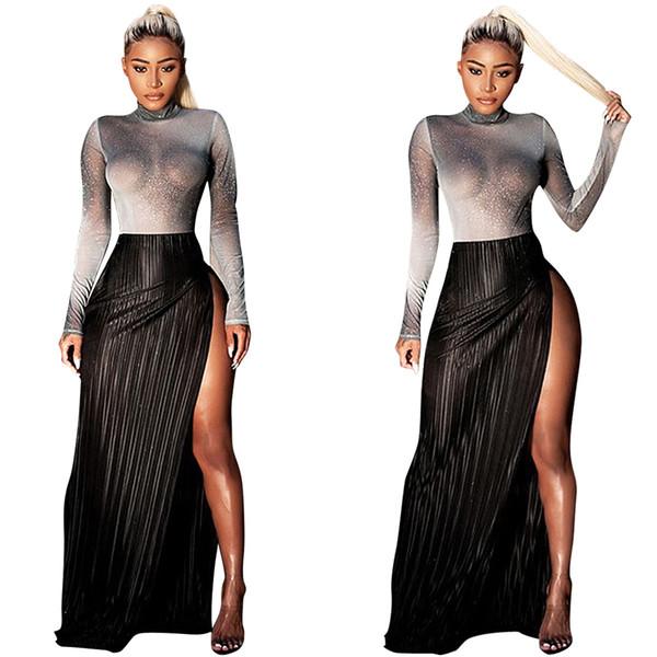 2018 See Through High Stretch Silver Wire camiseta y falda conjuntos Sexy High Split mangas largas dos piezas Night Out Oub vestidos Party Dress