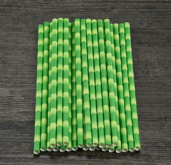 19.5cm desechable Bubble Tea Pajas de papel de bambú grueso para beber para el bar Fiesta de cumpleaños