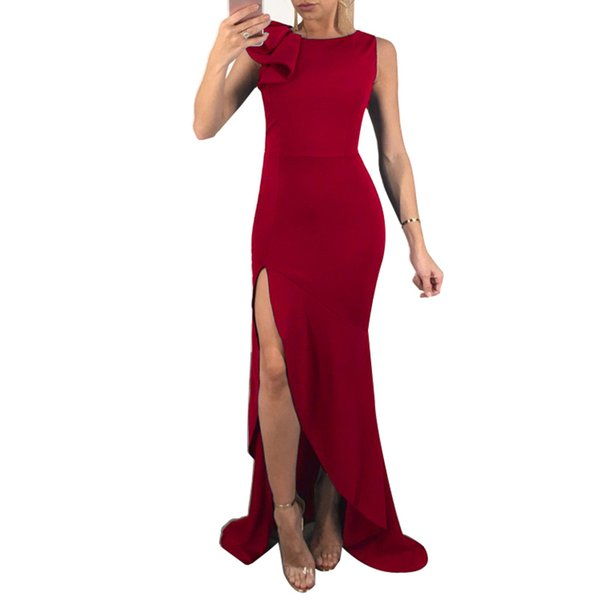 Sexy Women Solid Maxi Long Dress O Neck Sleeveless Ruffle High Split Nightclub Party Dress Blue/Green/Red Summer Dress Vestidos
