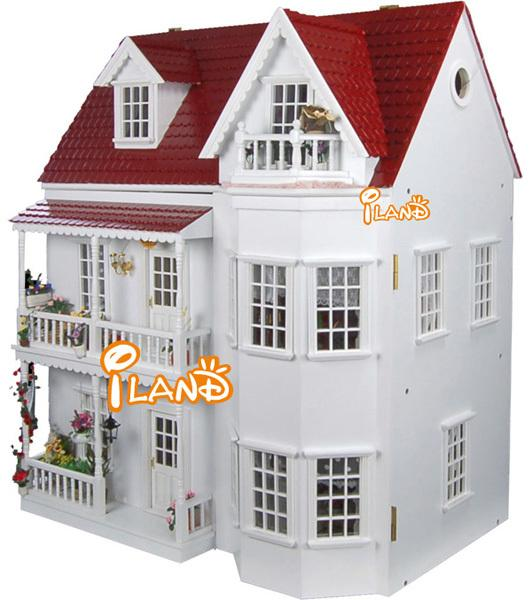 1:12 Garden Villa Nordic style DIY Big Doll house 3D Miniature Wooden assembled+PVC Window Building model Play house toy Gift