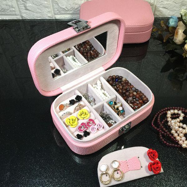 Jewelry Box Christmas Gift Organizer Box European Princess Mini Travel Jewelry Storage Box Ring Earring Case Support FBA Drop Shipping H203F