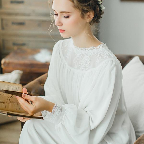 Neuankömmlinge Vintage Sleep Elegantes Home Dress Spitze Nachtwäsche Schwangere Frauen Sleep Lounge Soft Cotton Nachthemd CC592