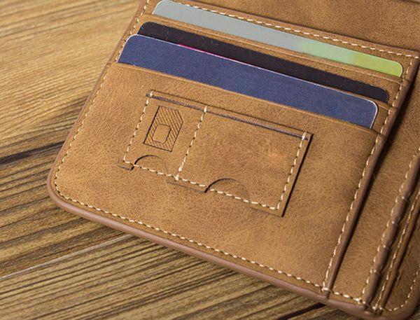 Los hombres de moda de color sólido letra adorno aburrido polaco abierto vertical suave patrón cartera