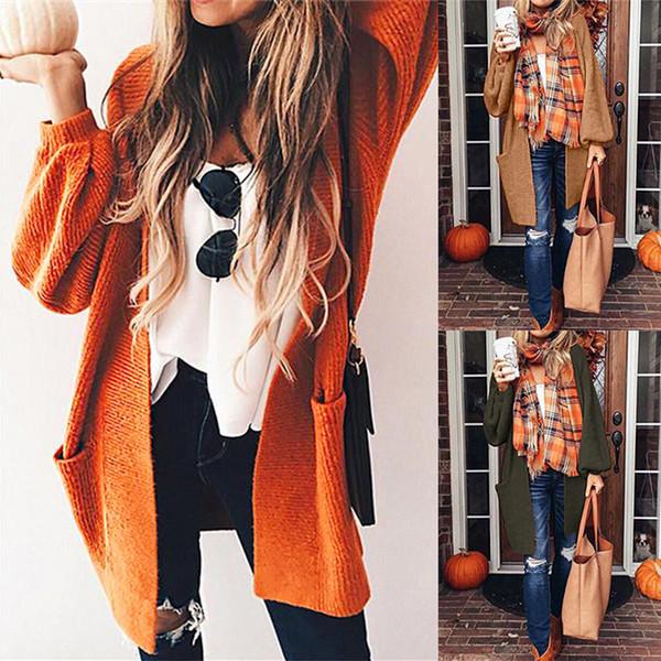 Bayanlar 2018 sıcak satış sonbahar ve kış yeni v yaka fener kollu ince tam kadın uzun ceket katı cepler açık dikiş kadın ceket