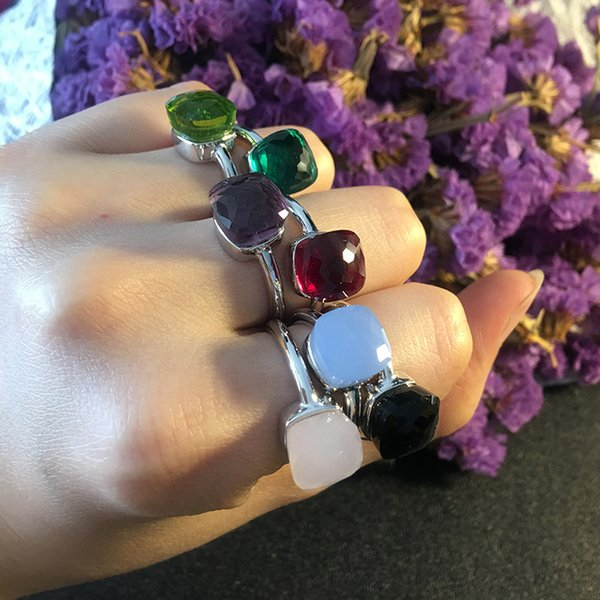 Top brass material paris design ring with nature jade and zircon decorate single ring and stamp logo jewelry gift PS6405