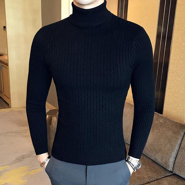 Winter High Neck Dicke Warme Pullover Männer Rollkragen Herren Pullover Slim Fit Pullover Männer Strickwaren Männlichen Doppelkragen Hohe Qualität