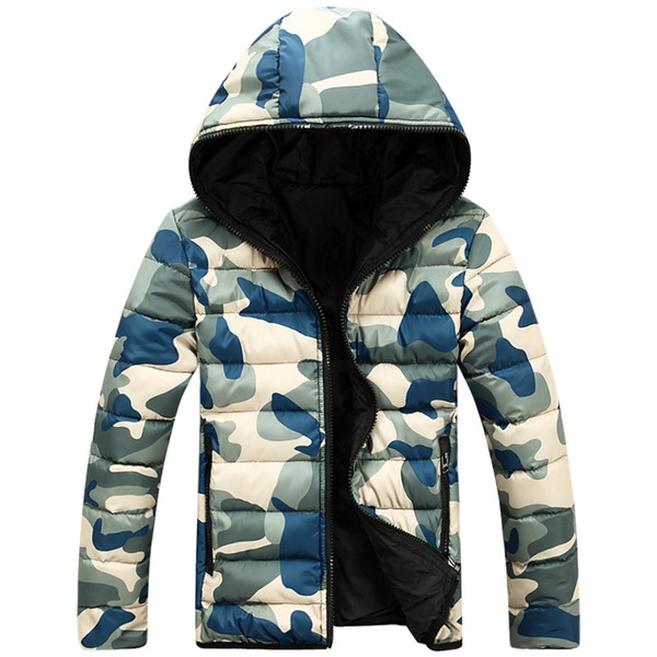 casual camouflage down jackets 2018 new arrival fashion winter parka men camo snow casual coats jacket double faced jacket, Black