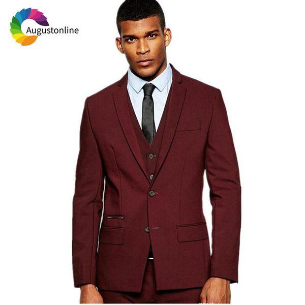wholesale Custom Made Burgundy Men Suits Wedding Suits Groom Tuxedo Fit Prom Wear Man Blazer 3Piece Jacket Pants Vest High Street