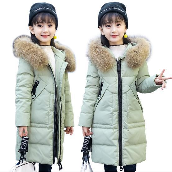 Kürk Hood Uzun Ceket Kızlar için Çocuk Kar Giyim Çocuklar için Pamuk-Yastıklı Kış Ceket Noel Kış Ceket Kız 5-12Y