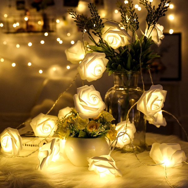 top popular 20LED 40LED Rose Light 8 Colors AAA Batery Operated LED Holiday Lights Steady Flash Fariy Light String Party Home Xmas Wedding Deco 2020