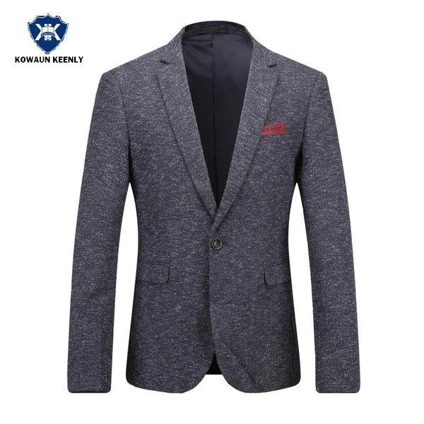 2017 Stylish Men Slim Fit Solid Dark Gray Suit Jacket Thin Luxury Casual Blazer Wedding Party Suit Business Dress Men Clothing
