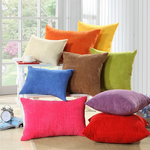 M MOCHOHOME Commercio all'ingrosso di velluto a coste decorativo solido quadrato tiro cuscino federa cuscino per divano divano letto - 18