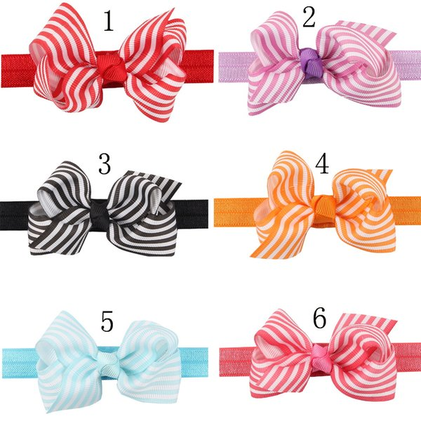 16pcs Fashion Cute Kids headwear dots ribbon bow Headbands headwear Bowknot DOT Hair band Bows Band Hair Accessories HC033