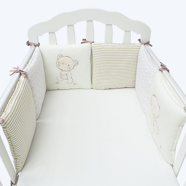 Breathable 6Pcs/Lot Baby Bed Bumper Back Cushion in the Crib Cot Bumper Baby Bed Protector Crib Bumper Newborns Toddler Bed Bedding Set