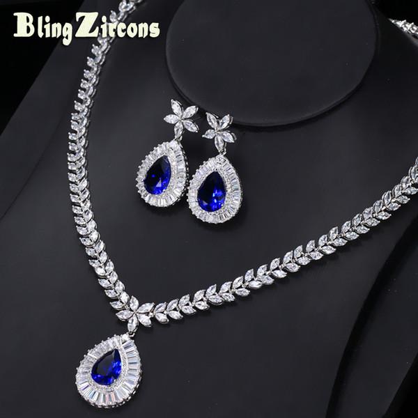 Ganze saleBlingZircons Brand New Big Water Drop Königsblau Zirkonia Stein Ohrringe Halskette Braut Hochzeit Schmuck Sets Für Frauen JS032
