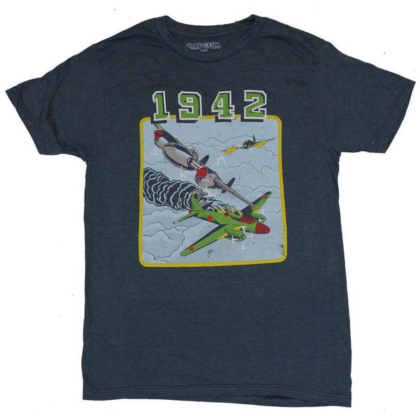 1942 Capcom Video Game Herren T-Shirt - Klassische Distressed Cabinet Art Bild