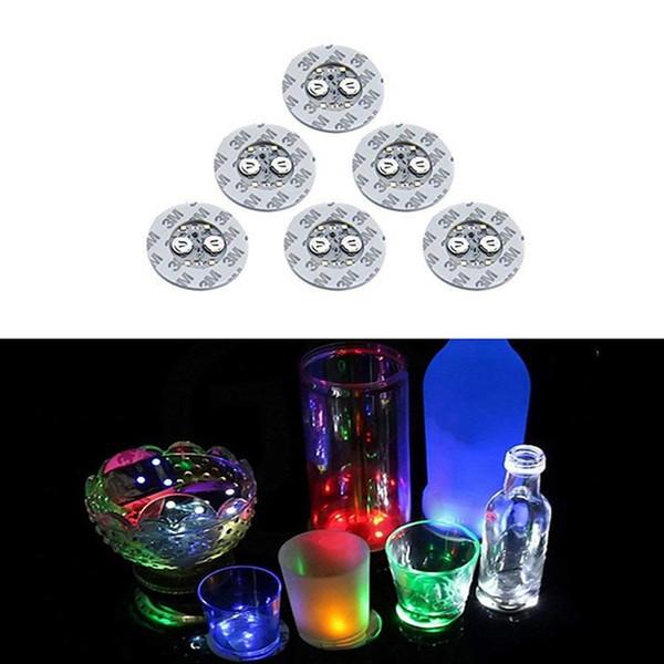 LED Glow Coaster 6 cm LED Bouteille Lumière Autocollants Noël Xmas Bar Club Party Vase Décoration LED Glorifier Mini Lumière Tasse De Tasse De Boisson