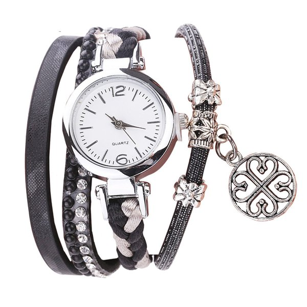 CCQ Women Fashion Casual Analog Quartz Women Rhinestone Pendant Bracelet Watch C