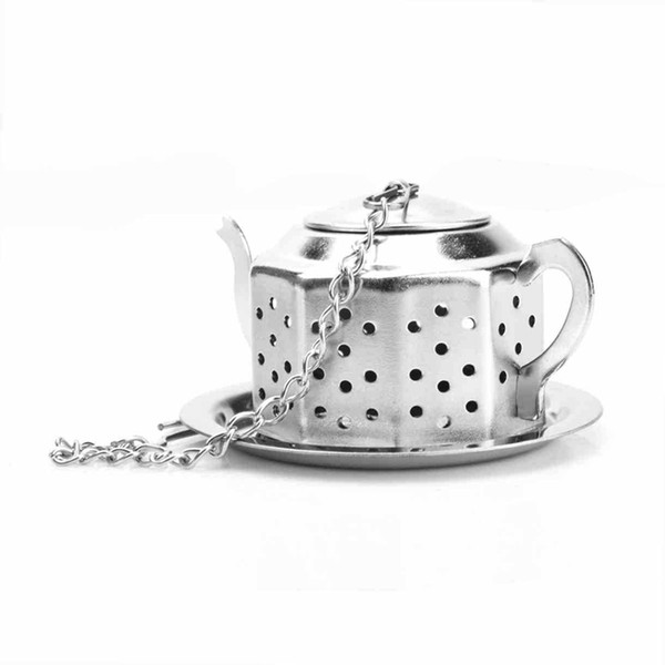 Teapot Pot Shape Stainless Steel Leaf Tea Infuser Filter Strainer Ball Spoon 6*5.5*3.5cm fast shipping