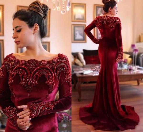 2018 Arabisch Burgund Samt Mermaid Mütter Kleider mit langen Ärmeln Perlen Formale Abendkleider Plus Size Mutter der Braut Kleider BA6885