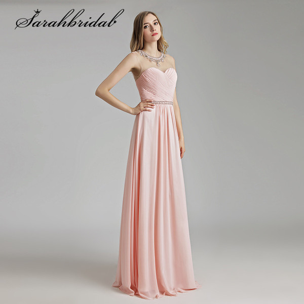2019 Real Photos Prom Dresses Light Pink Beaded Crystals Neck Sexy See Through Back Long Chiffon Party Evening Gowns LX510