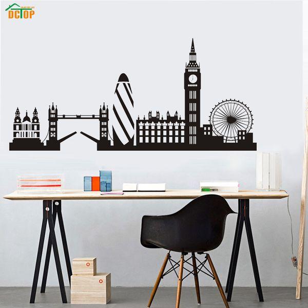 Dctop Edifício Da Cidade London Skyline Silhueta Adesivo De Parede Grande Ben Marco Vinil Mural Decal Sala de estar Arte Da Parede Decoração Da Sua Casa