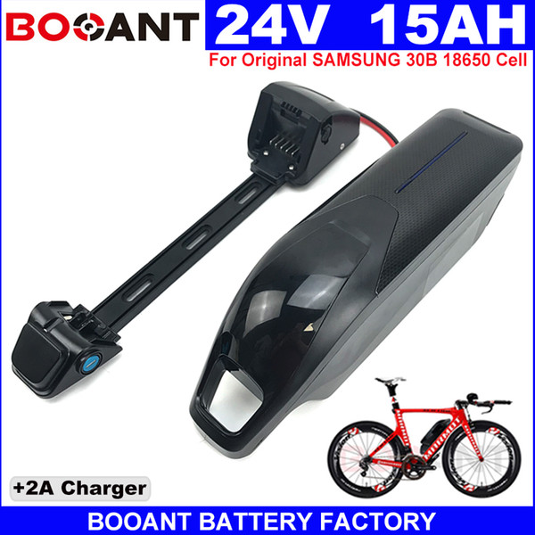 Rechargeable Electric bike Lithium battery 24V 15AH E-bike battery pack 24V For Bafang BBSHD BBS02 250W 500W Motor +2A Charger