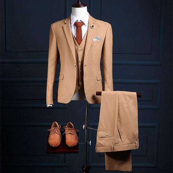 2017 tailor made slim fit suits for men Brown Herringbone Tweed wedding dress For man custom mens suit Blazer(Jacket+Vest+Pants)