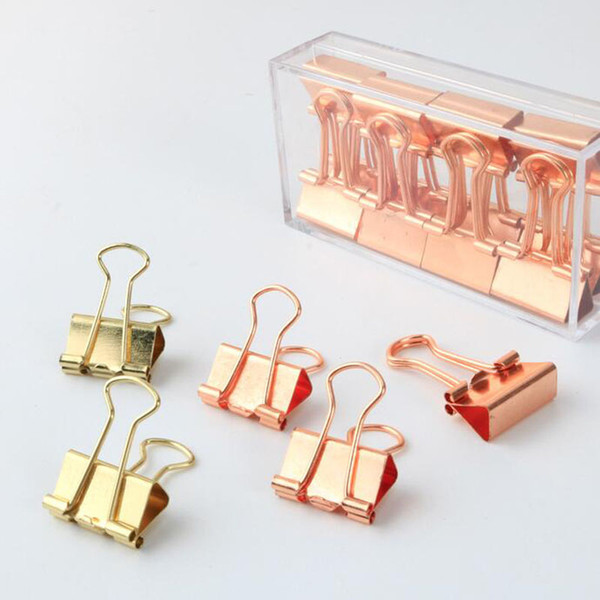 best selling 19mm Solid Color Rose Gold Metal Binder Clips Notes Letter Paper Clip Home Office Storage Supplies ZA6807