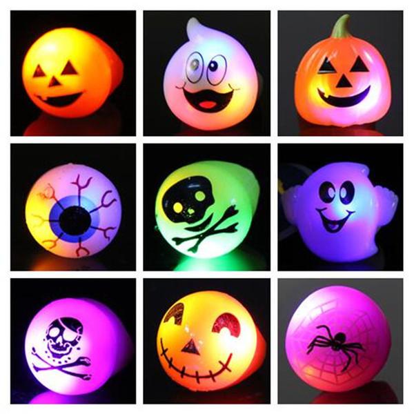 Halloween LED Flashing Finger Rings Kids Light Up Pumpkin Eyeball Rings Dress Up Decorations Glow Party Supplies