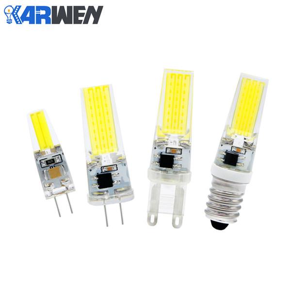 KARWEN Lampada LED Lamp G4 G9 E14 Dimmable 220V 6W Bombillas G4 G9 LED Bulb AC DC 12V COB Light Replace Halogen Chandelier Ligh