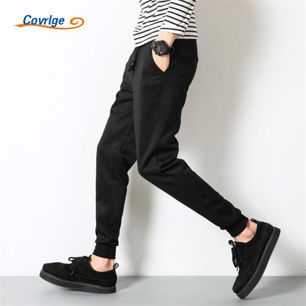 covrlge men's pants trousers solid plus size mens joggers black pants for men casual sweatpants sportwear elastic waist mky004