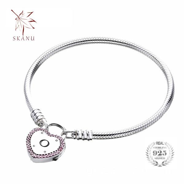 REAL 925 Streling Argent Naturel cristal amour chaîne Bracelet Pour Femme Fashion